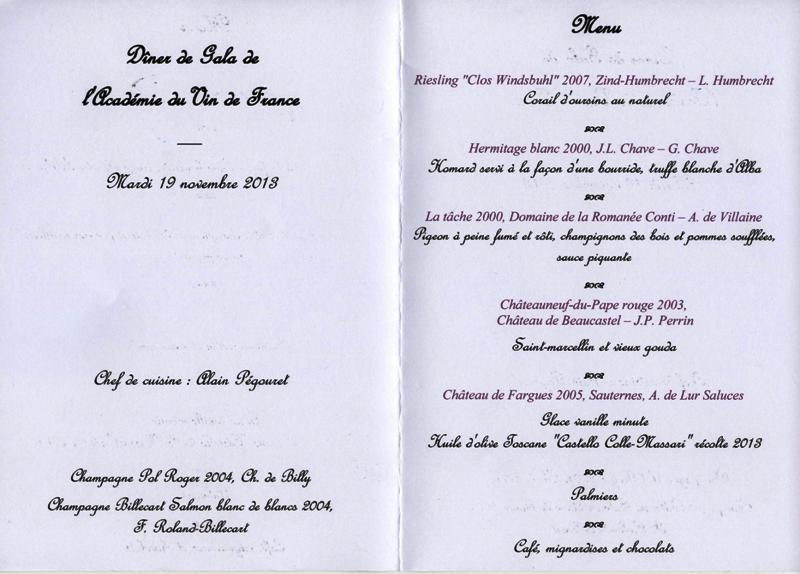 dîner de l'académie du vin de France 001