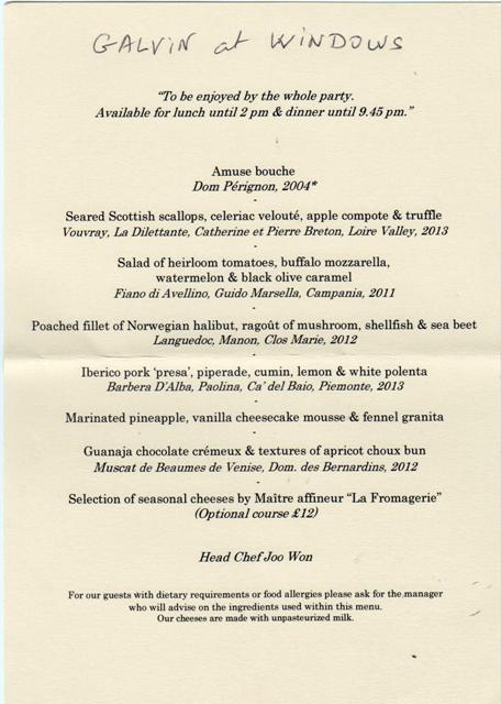 menu dégustation du Galvin 001