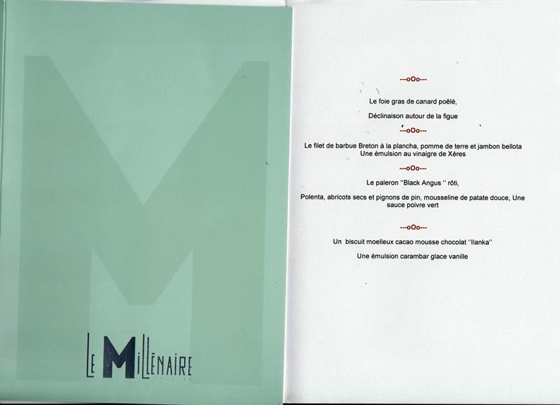 MENU LE MILLENAIRE 141010 001